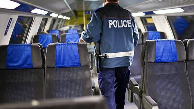 Ein Mitarbeiter der Bahnpolizei während einer Kontrolle (Archiv)