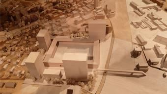 Die vier Hochhäuser (im Vordergrund mit einem möglichen Hotel dazwischen), das Stadion und die Passerelle über die Gleise, wie sie das Stadtmodell zeigt.uhg