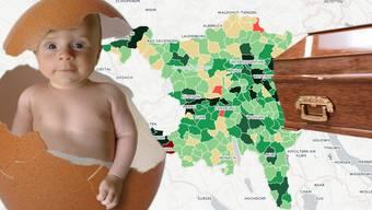Wo wird am meisten geboren, wo am meisten gestorben im Aargau