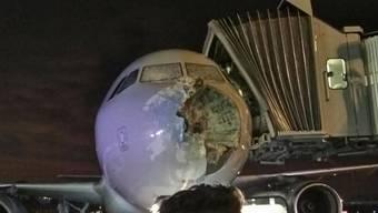 Die Nase und die Windschutzscheibe des Flugzeuges wurden massiv beschädigt.