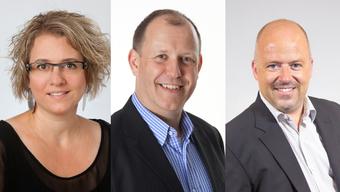Diese Drei wollen sich ins höchste Amt in Wangen wählen lassen: Daria Hof, Christian Riesen, Patrick Schmid (v.l.)