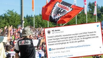 Kurz vor Anpfiff der Partie FCA vs. GC ist ein Grossteil der Tickets ausverkauft.