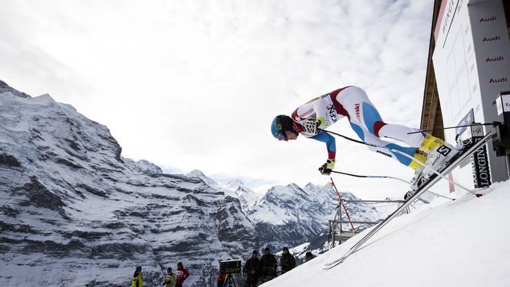 Der kürzlich tödlich verunglückte Gian Luca Barandun im vergangenen Januar beim Start der Lauberhorn-Abfahrt in Wengen.