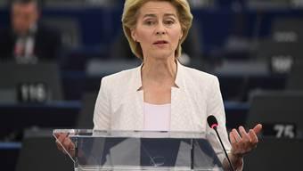 Die deutsche Verteidigungsministerin Ursula von der Leyen hat in einer engagierten Bewerbungsrede am Dienstag im EU-Parlament in Strassburg um die Stimmen der EU-Abgeordneten für das Amt der EU-Kommissionschefin geworben. Das EU-Parlament entscheidet am Dienstag über diese Personalie.