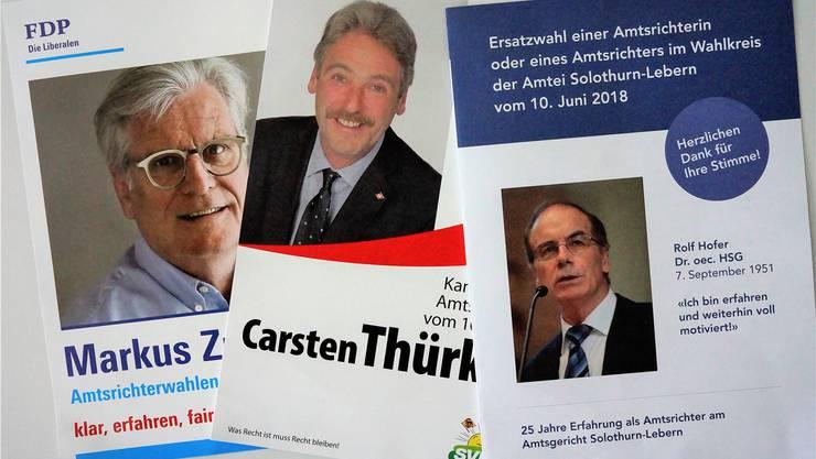 Wahlpropaganda der drei Kandidierenden für die Ersatzwahl am 10. Juni.