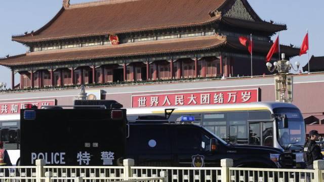 Der Tiananmen-Platz nach dem Vorfall im vergangenen Oktober