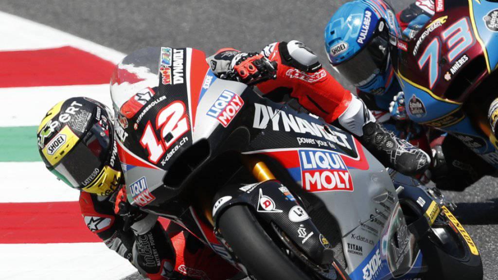 Der Spanier Alex Marquez, zuletzt zweimal in Serie siegreich, am Hinterrad von Tom Lüthi