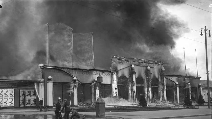Muba 1923 - Am Bettag zerstörte ein Brand innerhalb einer Stunde die Gebäude der Schweizer Mustermesse