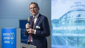Mit Hightech Aargau fördert der Regierungsrat den Wirtschaftsstandort Aargau. Urs Hofmann am 5-Jahre-Jubiläumsanlass in Brugg im Mai 2018.