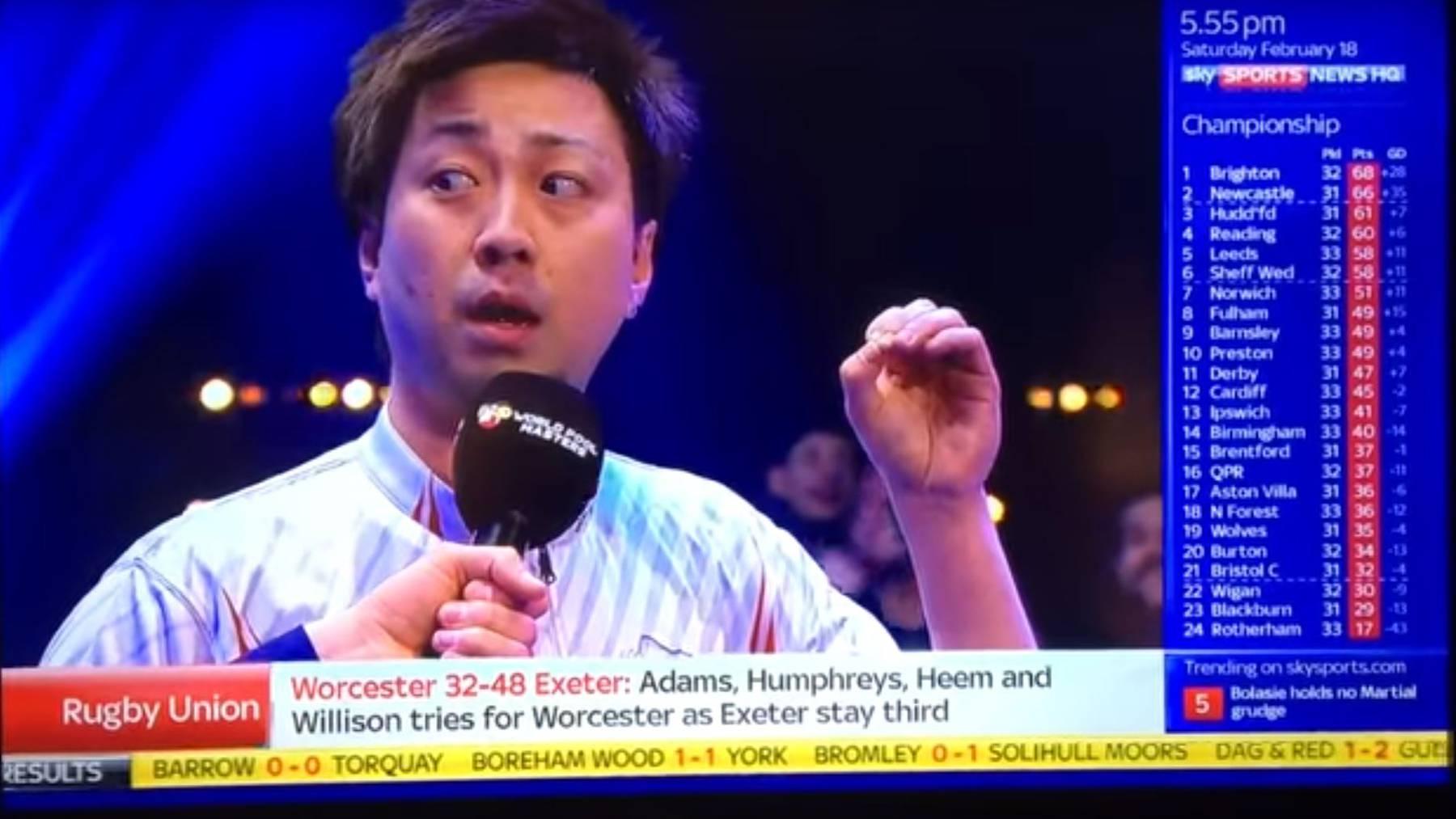 Naoyuki Oi ist ein Poolbillard-Spieler. Der Japaner spricht offensichtlich kein Englisch, versucht sich in einem Interview aber trotzdem in der Fremdsprache.