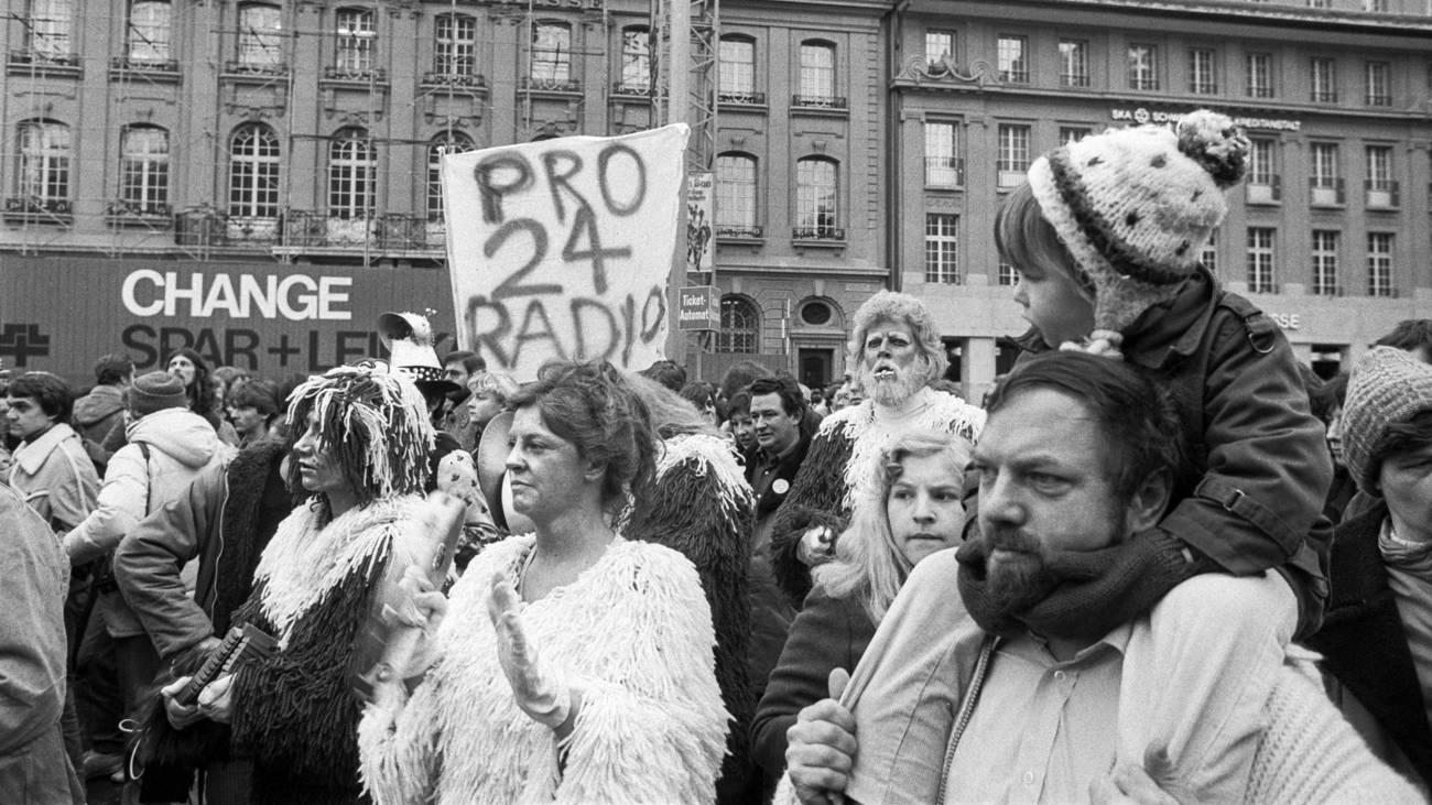 Aufnahmen der Demonstration in Bern, 26. Dezember 1979 (© Keystone)