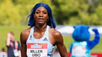 Olympiasiegerin Shaunae Miller-Uibo für einmal in blau.