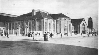 Historischer Blick auf den Badischen Bahnhof