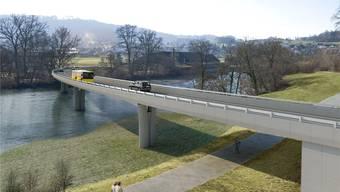 Die geplante Umfahrungsbrücke für Mellingen: Das Projekt soll eine massive Beeinträchtigung des Schutzgebiets an der Reuss bringen. (Montage)