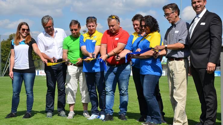 Bei strahlendem Sonnenschein durfte die Tägliger Dorfgemeinschaft am 8. September ihre neue Sportanlage mit nagelneuem Fussballfeld, Hartplatz und Beach Volleyball-Anlage einweihen.