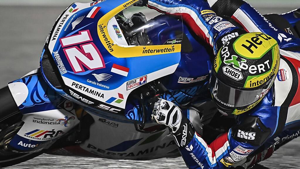 Auf dem Motorrad seines neuen Teams noch nicht schnell genug: Tom Lüthi in Katar.