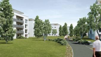 Die 19 Mehrfamilienhäuser sollen in einer parkähnlichen Umgebung mit asphaltierten Wegen zu stehen kommen.