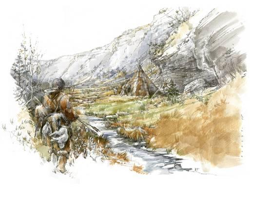 Chesselgraben bei Erschwil im Frühling 14'058 v. Chr. Onava kehrt erfolgreich von der Jagd zurück. (Illustration: Benoît Clarys)