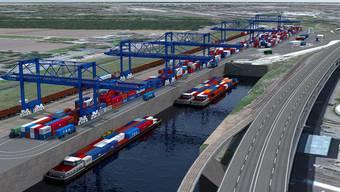Visualisierung des neuen Containter-Terminals Gateway Basel Nord, mit dem später noch zu grabenden Hafenbecken III.