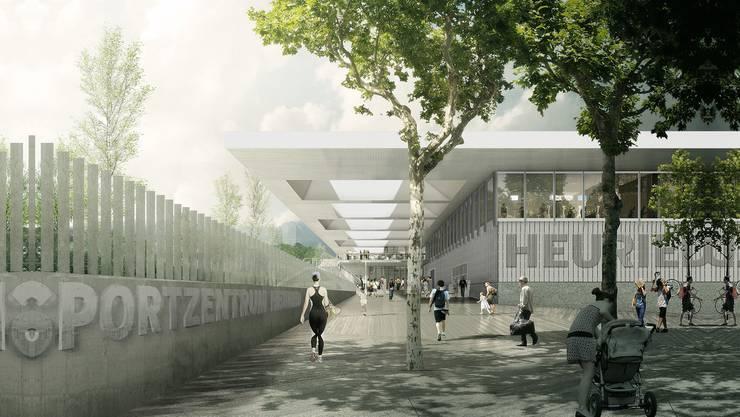 Visualisierung des Eingangsbereichs des zukünftigen Heuried-Zentrums