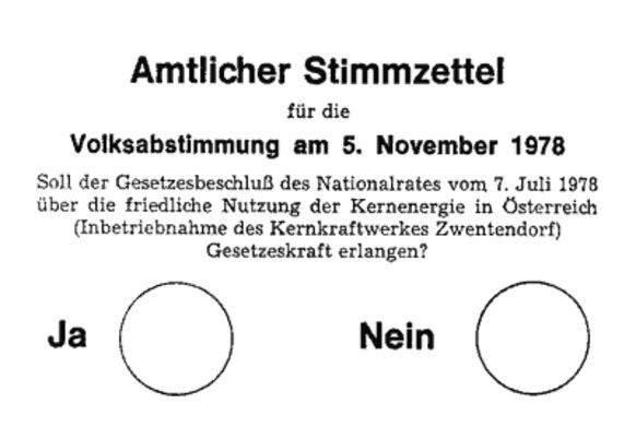 Alle Österreicher, die am 1. Jänner 1978 das 19. Lebensjahr vollendet hatten, durften über den Betrieb des KKW Zwentendorf abstimmen.