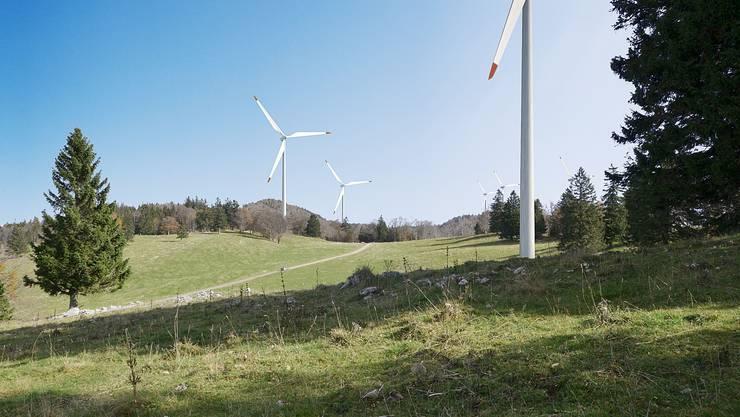 Visualisierung des Windparks auf dem Grenchenberg