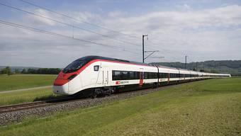"""Der neue Hochgeschwindigkeitszug """"Giruno"""" der Stadler Rail, der heute Donnerstag der Öffentlichkeit vorgestellt worden ist."""