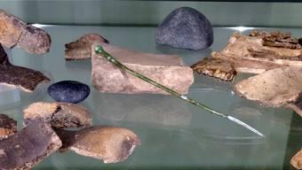 Fundstücke, darunter eine Bronzenadel aus der Mittelbronzezeit um 1500 v. Chr. Geri Hirt