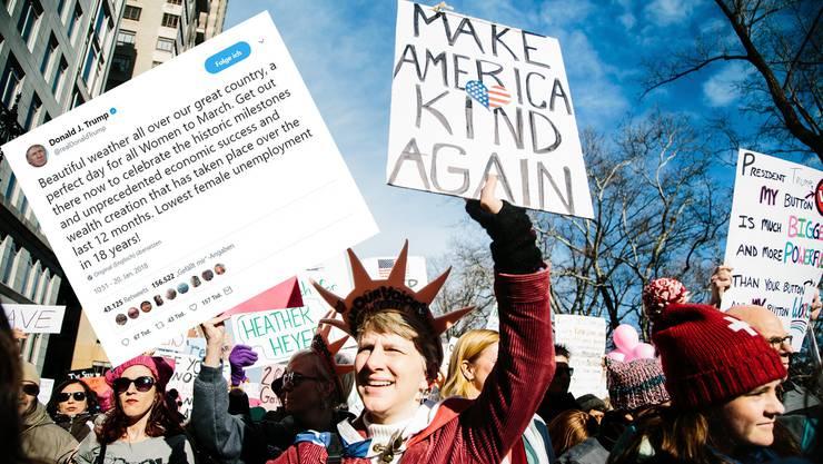 """""""Marsch der Frauen"""" gegen Donald Trump- In 300 US-Städten gingen am Samstag mehrere hunderttausend Personen auf die Strasse"""
