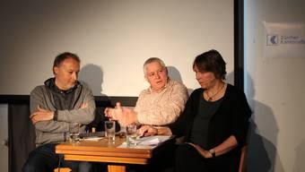 «Öises Dietike» im Zeichen der Trickfilmausstellung: Florian Walser, Rolf Brönnimann und Helene Arnet (von links).