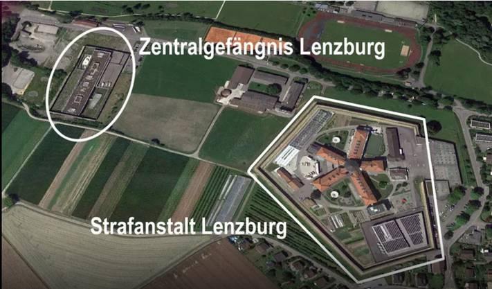 Die JVA besteht aus der Strafanstalt Lenzburg sowie dem Zentralgefängnis des Kantons. Das Zentralgefängnis liegt 300 Meter von der Strafanstalt entfernt.