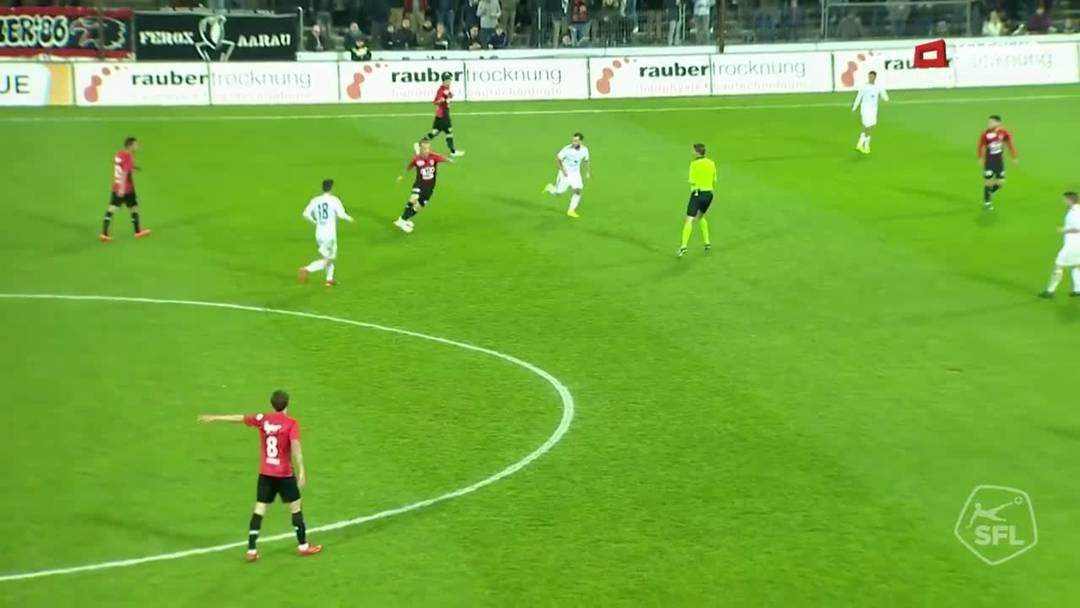 Challenge League 18/19 Runde 28: FC Aarau-FC Vaduz 6.4.19. 1:0 FC Aarau von Varol Tasar (Assist: Markus Neumayr)