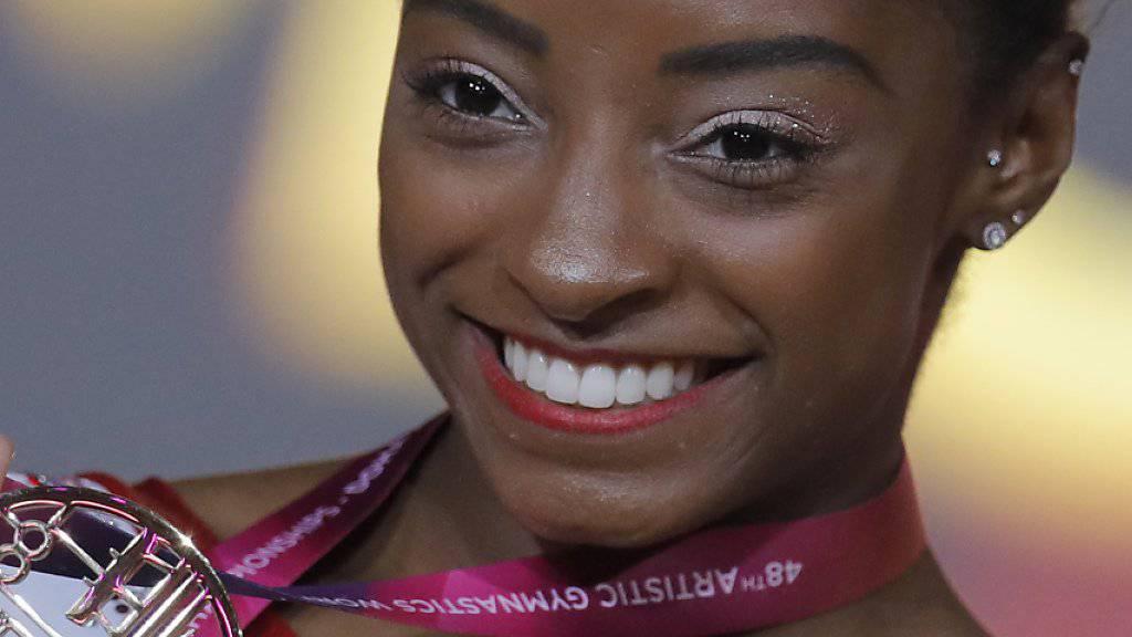 Simone Biles wurde zur Weltsportlerin des Jahres gewählt. Sie konnte den Preis in Monaco allerdings nicht persönlich entgegen nehmen.