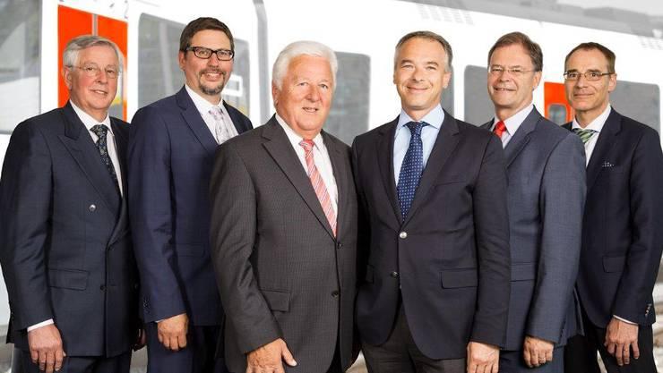Verwaltungsrat der kantonseigenen BDWM (von links nach rechts): Paul Meyer, Benjamin Wittwer, Verwaltungsratspräsident Herbert Huber, Mathias Meyer, Walter Dubler, Walter Zimmermann.