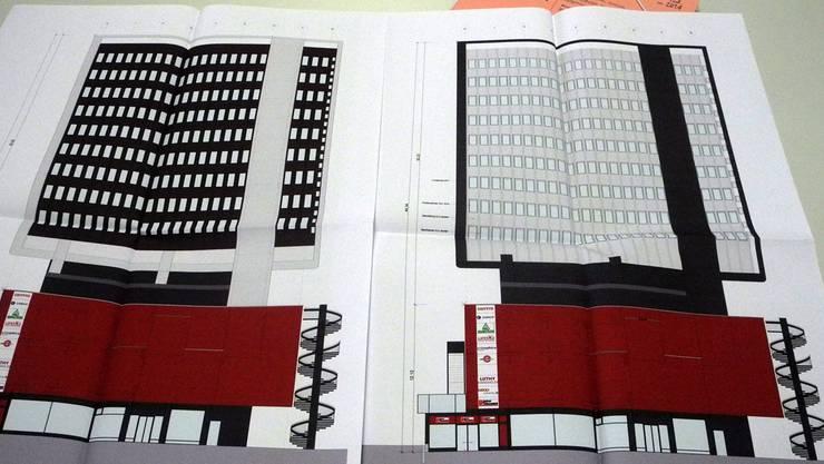 Alt (links) und neu. Die Pläne für die Neugestaltung der «Centro»-Fassade sorgen bei Architekten für Gesprächsstoff.