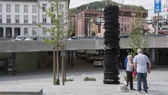 Der umstrittene «Stack» am Badener Schulhausplatz.