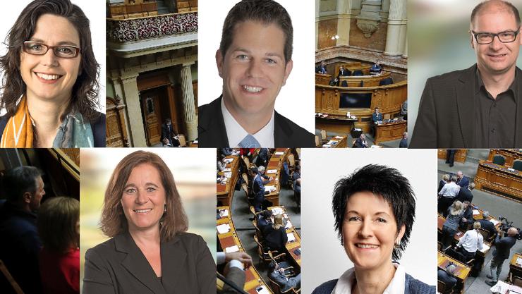 Sie müssen auf den Startschuss für ihre Karriere in Bern noch warten: Anita Panzer (FDP), Christian Werner (SVP), Urs Huber (SP), Franziska Roth (SP) und Sandra Kolly (CVP).