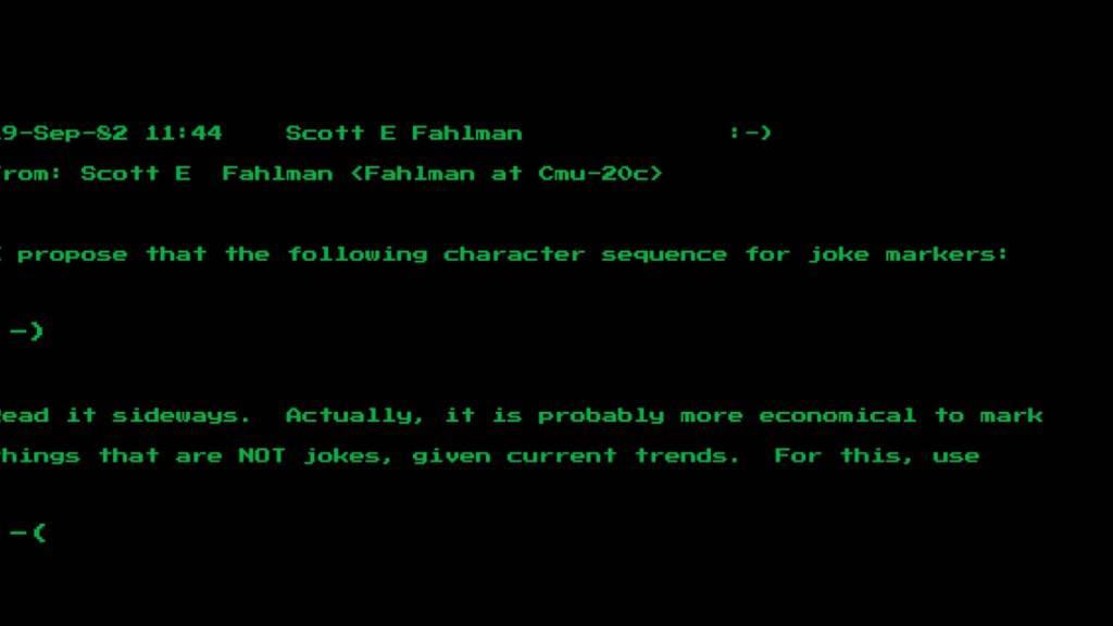 ARCHIV - Eine Nachricht des Computerwissenschaftlers Scott Fahlman von der Universität Pittsburgh vom 19. September 1982 zeigt seinen Vorschlag der Zeichenkombination «:-)» . - er gilt nun vielen als Urvater des digitalen Smileys. Dieses wurde in den USA für mehr als 200 000 Dollar versteigert. Foto: Heritage Auctions/Heritage Auctions/HA.com/dpa