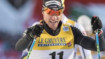 Auf der Skatingstrecke lief Dario Cologna zwischenzeitlich sogar ganz alleine an der Spitze.