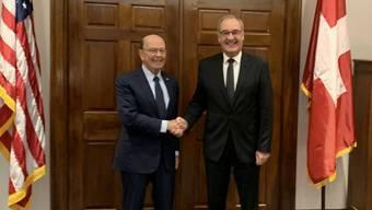 Wirtschaftsminister Guy Parmelin traf seinen US-Amtskollegen Wilbur Ross am Freitag in Washington.