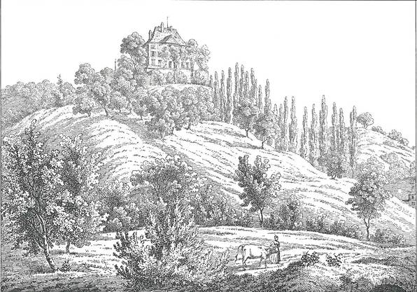 Ein Stich des Schloss Rued aus längst vergangener Zeit