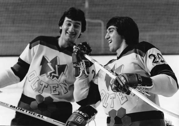 Bo und Jim Koleff (r.) haben Spass am Eishockey.