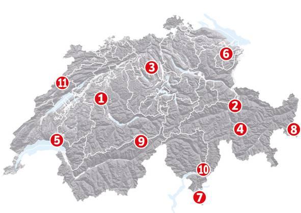 1) Berner Altstadt, BE; 2)Schweizer Tektonikarena Sardona, GL; 3)Pfahlbauten am Hallwilersee, AG; 4)Rhätische Bahn Albula/Bernina, Gr; 5)Lavaux, Weinberg-Terrassen, VD; 6)Stiftsbezirk St. Gallen; 7)Monte San Giorgio, TI; 8)Kloster St. Johann in Müstair, GR; 9)Schweizer Alpen – Jungfrau-Aletsch, BE/VS; 10)Die Burgen von Bellinzona, TI; 11)La Chaux-de-Fonds / Le Locle, NE