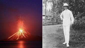 Links: Schaurig-schön: Der Anak Krakatau spuckt Lava im Sommer 2018.