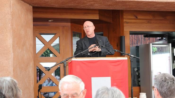 Sicherheitsvorstand Patrik Wolf (FDP) hielt die Festrede. Thema: Integration.