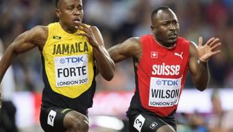 Alex Wilson (rechts) qualifizierte sich in extremis für die Halbfinals über 100 m