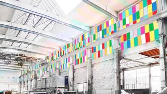 So wird sich die Fensterfassade der Halle 37 präsentieren – das Projekt «vier Jahreszeiten» von Ugo Rondinone. zvg