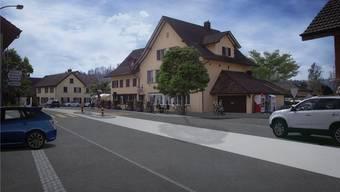 Dank eines neuen Mehrzweckstreifens soll der Verkehr in Zukunft beim Restaurant Kastanienbaum flüssiger rollen.