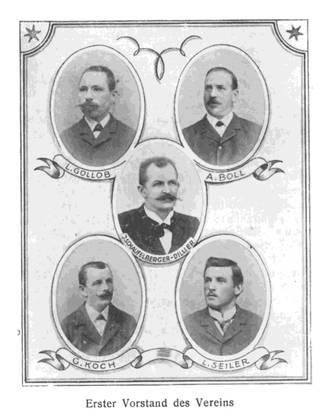 Der erste Vorstand des Gewerbevereins Dietikon wurde von Buchdrucker Jacques Schaufelberger (Mitte) geführt.