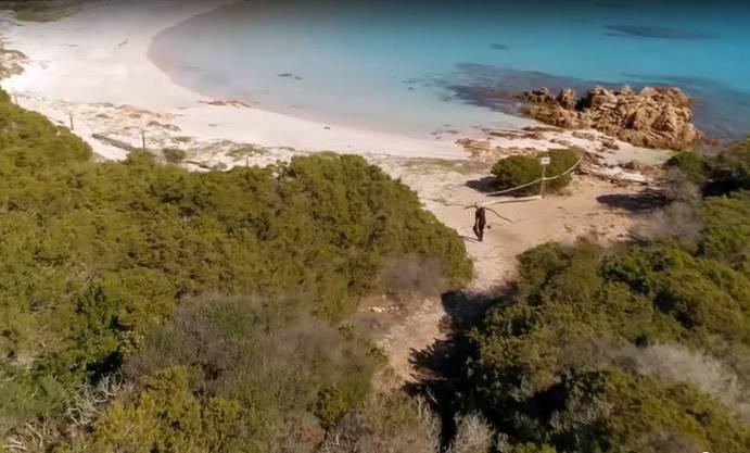 Der rosa Strand gilt als einer der schönsten am Mittelmeer. Mauro Morandi passt auf, dass sich der Strand weiterhin gut von den Strapazen des Tourismus erholt. (Screenshot: arte.tv )